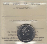 1965   MS 64  CANADA 5 CENTS  ICCS CERTIFIED