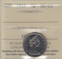 1965   MS 65  CANADA 5 CENTS  ICCS CERTIFIED