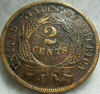 1865 2 CENT COIN 2 OF 3   CIVIL WAR COIN   EXCELLENT COND.