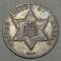 1861 THREE CENT SILVER, TYPE 3, CHOICE  FINE, 180 DEGREE DIE ROTATION