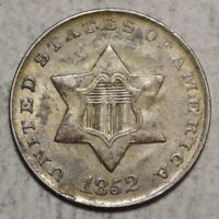 1852 THREE CENT SILVER, ORIGINAL UNCIRCULATED COIN,        0914-06