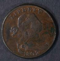 1802 DRAPED BUST LARGE CENT EXTRA FINE  STEMLESS, PITTING ON REV