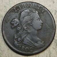 1802 DRAPED BUST LARGE CENT,  FINE - DISCOUNTED HIGH GRADE TYPE  0205-01