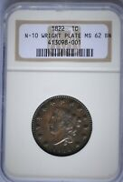 1822 1C CORONET HEAD, LARGE CENT NEWCOMB 10 R1 NGC MINT STATE 62, JOHN WRIGHT PLATE COIN