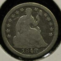 1848 HALF DIME 5 FIVE CENTS SILVER 90 TYPE COIN
