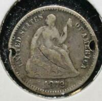 1872 HALF DIME 5 FIVE CENTS SILVER 90 TYPE COIN