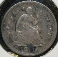 1841 HALF DIME 5 FIVE CENTS SILVER 90 TYPE COIN