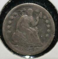 1854 O HALF DIME 5 FIVE CENTS SILVER 90 TYPE COIN