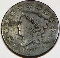 1829 CORONET HEAD LARGE CENT PENNY COIN 1C  CLEAN GREAT REVERSE LOOKING A95