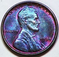 1934 P LINCOLN WHEAT CENT PENNY COIN 1C BEAUTIFUL TONING UNCIRCULATED  A96