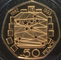 1992 93 GOLD PROOF 50P EU COUNCIL PRESIDENCY FIFTY PENCE COI