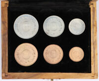 1965 HASHEMITE KINGDOM OF JORDAN 6 COIN FILS MINT SET BU UNC W/ WOODEN BOX