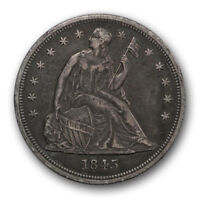 1845 $1 LIBERTY SEATED DOLLAR EXTRA FINE EXTRA FINE  TOUGH DATE TONED R481