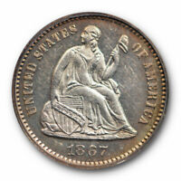 1867 H10C SEATED LIBERTY HALF DIME PCGS PR 62 PROOF KEY DATE LOOKS CAMEO ?