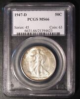 1947-D WALKING LIBERTY HALF DOLLAR PCGS MINT STATE 66 -  GOLDEN TONING 4623