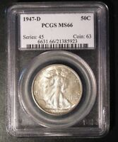 1947-D WALKING LIBERTY HALF DOLLAR PCGS MINT STATE 66 - HINTS OF GOLDEN TONING 5923