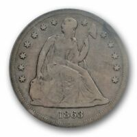 1863 $1 LIBERTY SEATED DOLLAR PCGS VG 10  GOOD TO FINE KEY DATE
