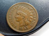 1864-L INDIAN CENT, STUNNING, ORIGINAL, DOUBLE DATE, FS-01-1864-2302, SNOW 3