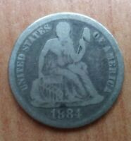 1884 P SEATED LIBERTY DIME - SILVER, GOOD DETAIL, NOT STOCK PHOTO