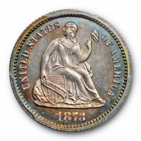 1873 H10C SEATED LIBERTY HALF DIME PCGS PR 64 PROOF LOW MINTAGE TONED
