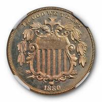 1880 SHIELD NICKEL 5C PROOF NGC PF 65 PR KEY DATE LOW MINTAGE TOUGH COIN