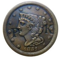 HALF CENT/PENNY 1851 HALF CENT LY PLACED 2 INITIAL COUNTER-STAMP