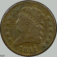 1811 CLASSIC HEAD 1/2C, KEY DATE F/VF DETAILS COIN