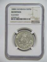 MOMBASA 1888H RUPEE SILVER TYPE NGC GRADED AU DETAILS <>