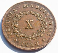 PORTUGAL MADEIRA ISLAND MARIA II 1842 CIRCULATED 10 REIS