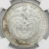 BOGOTA COLOMBIA 1 PESO 1867 NGC XF DETAILS / EXCESSIVE SURFACE HAIRLINES
