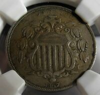 1867 NO RAYS, NGC EXTRA FINE 45, STRUCK OFF CENTER FRONT AND BACK, CUD ON REVERSE,