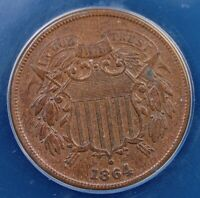 1864 TWO CENT PIECE LG MOTTO REPUNCHED DATE ANACS EF 45 LOOKS BETTER