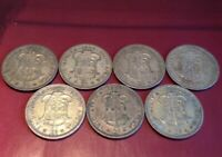 SOUTH AFRICA  2 SHILLING SILVER COINS VARIOUS DATES 1952/3/4/5/6/7 /60 7 COINS