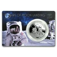 FIRST MAN ON THE MOON LANDING 2019 1 OZ PURE SILVER PROOF COIN   BARBADOS