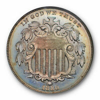 1880 SHIELD NICKEL 5C NGC PR 66 HIGH END PROOF COLORFUL BEAUTIFUL TONED KEY DATE