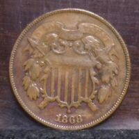 1868 TWO CENT PIECE - VG 21709
