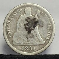 1891-O SEATED LIBERTY DIME - VG DETAILS 21829
