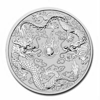 AUSTRALIA DOUBLE DRAGON  2019 1 OZ PURE SILVER BU COIN IN CAPSULE  PERTH MINT