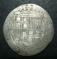 MEDIEVAL COIN SILVER 1474 SPAIN 1 REAL PIRATE COLONIAL CROSS