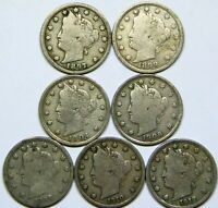 LIBERTY V NICKEL LOT OF 7 DIFFERENT DATES 5C GOOD DETAIL  LOOKING COINS D55