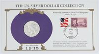 1935-S PEACE SILVER DOLLAR ON FDR NEW DEAL INFORMATION CARD W/ 2 STAMPS S$1