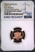2019-S LINCOLN PROOF CENT 1C BLUE EARLY RELEASES NGC PF70 ULTRA CAMEO
