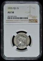 FIJI 1935 AND 1938 SHILLINGS, CERTIFIED NGC-58, SILVER, KEY DATES