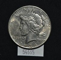 WEST POINT COINS  1934-D PEACE SILVER DOLLAR $1