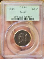 1793 1/2 C HALF CENT LIBERTY C 2 GREEN OLDER PCGS HOLDER AU50