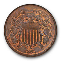1865 2C LARGE MOTTO TWO CENT PIECE NGC MINT STATE 65 RB UNCIRCULATED RED BROWN ORIGINAL