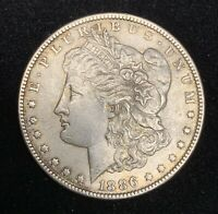 TOP 100 - VAM1A1 1886-P 'LINE IN 6' WITH OBV CLASH MORGAN DOLLAR MS DETAILS UNC