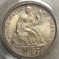 1887 SEATED LIBERTY DIME, CHOICE UNCIRCULATED PCGS MINT STATE 63 OGH, ORIGINAL & PQ