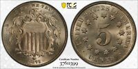 1875 SHIELD NICKEL PCGS MINT STATE 65 BLAZING SIL WHITE HIGHLY LUSTROUS GEM