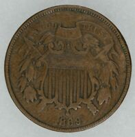 1869 TWO CENT PIECE 2C CIRCULATED VF  FINE BETTER DATE VISIBLE